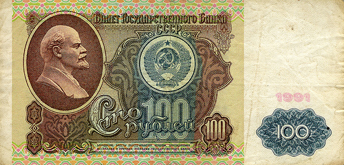 an old soviet 100 rubles banknoe / photo by thereproject@FlickR