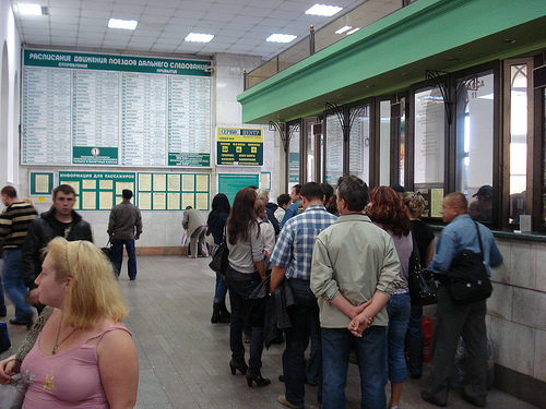 Queue to buy a train ticket / photo by aaronray@FlickR