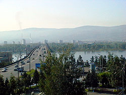 A view on Enisey from Krasnoyarsk hotel