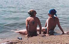 Women having fun on Ob Sea beach in Akademgorodok Novosibirsk