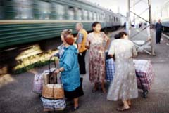 Dealers in front of Trans-Siberian train in Vladimir