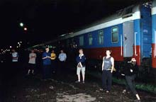 People outside Rossiya Trans Siberian train