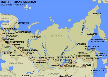 Map of the Trans-Siberian route